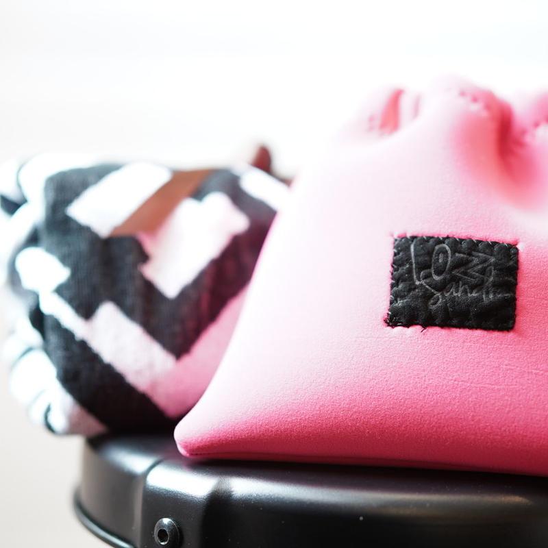 Lozzsandra/bi-colorポーチ all neon pink
