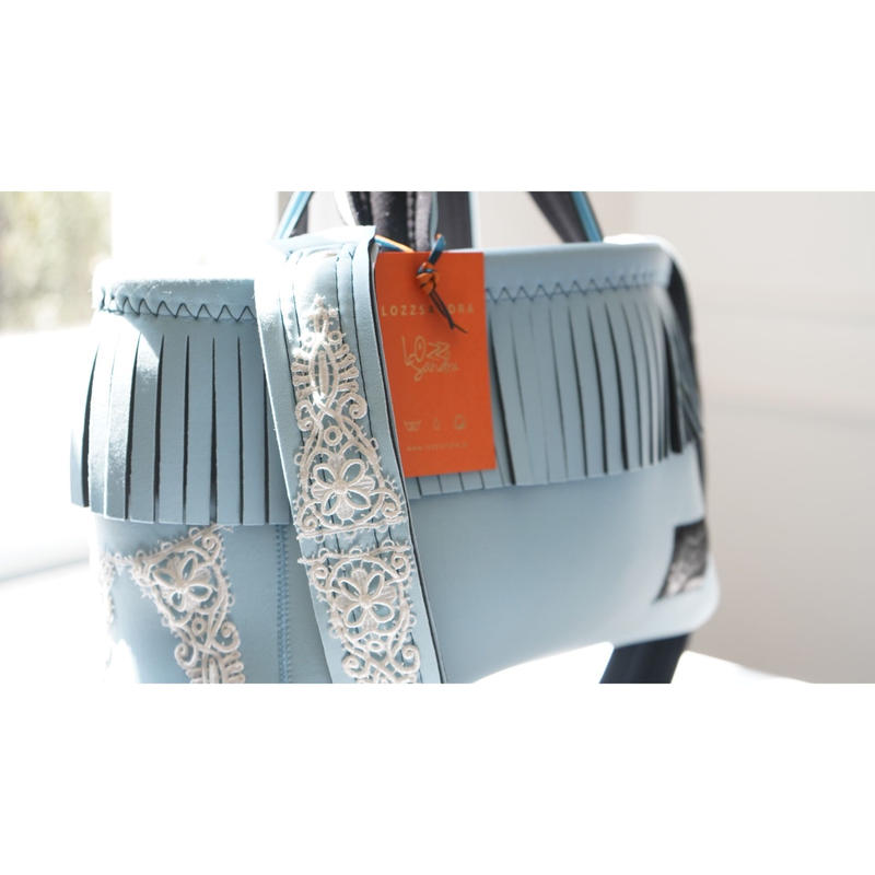 Loss Sandra/fringe tote bag「lace」Ice blue