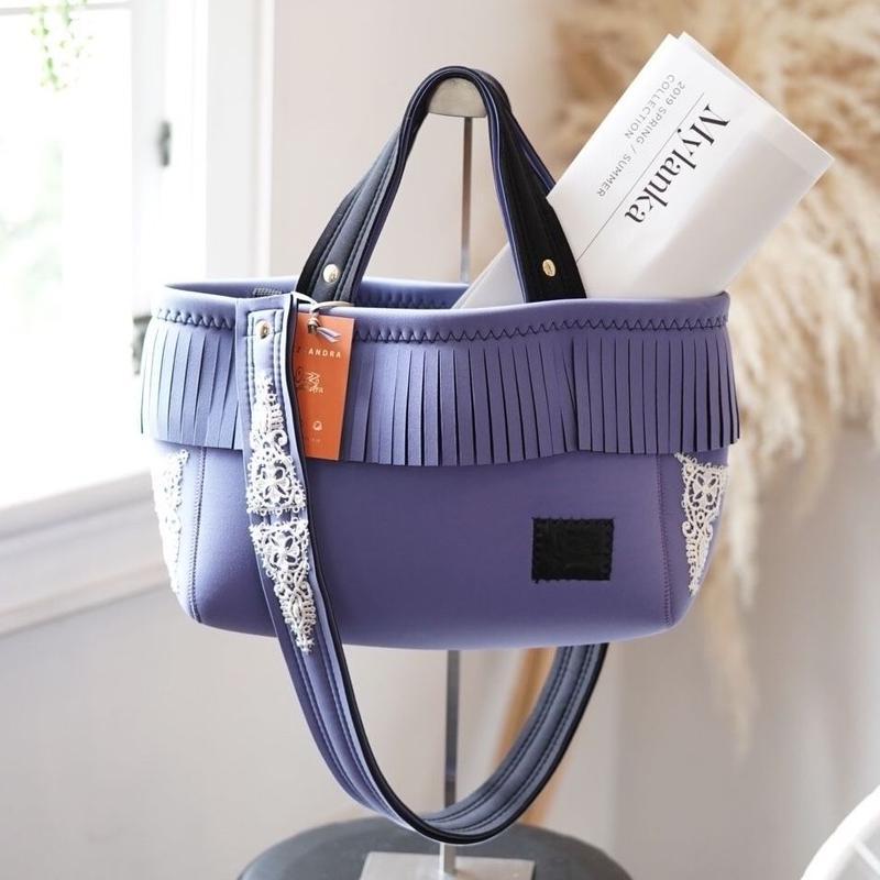 Loss Sandra/fringe tote bag「lace」Lavender