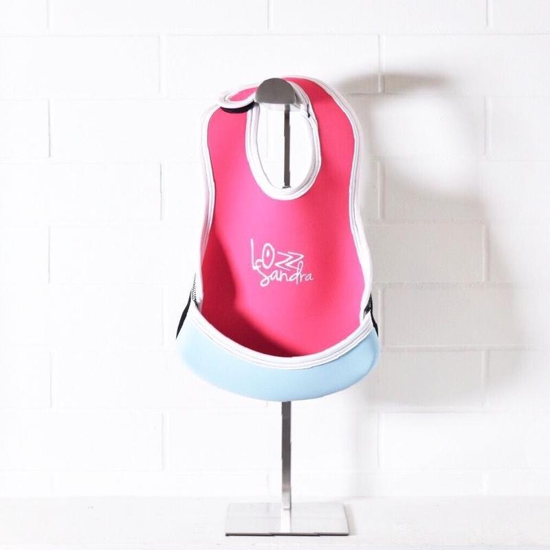 Lozz Sandra/BABY BIB/Neon pink x Ice blue