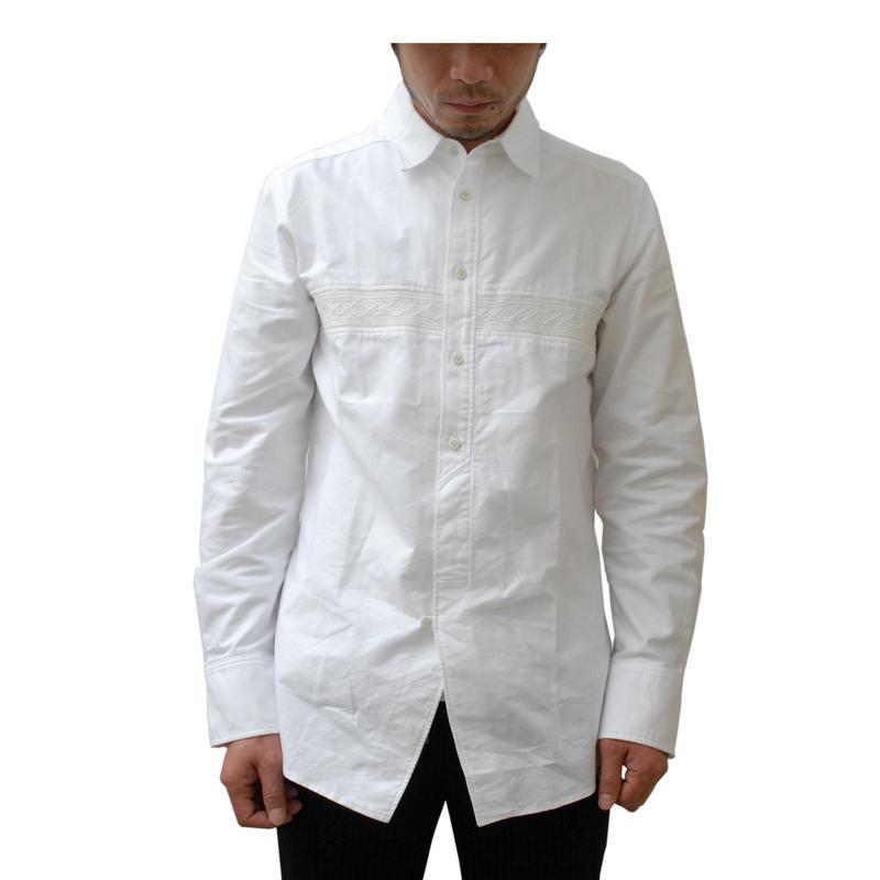 Rhythmor(リズモア)レース切替オックスシャツ WHITE