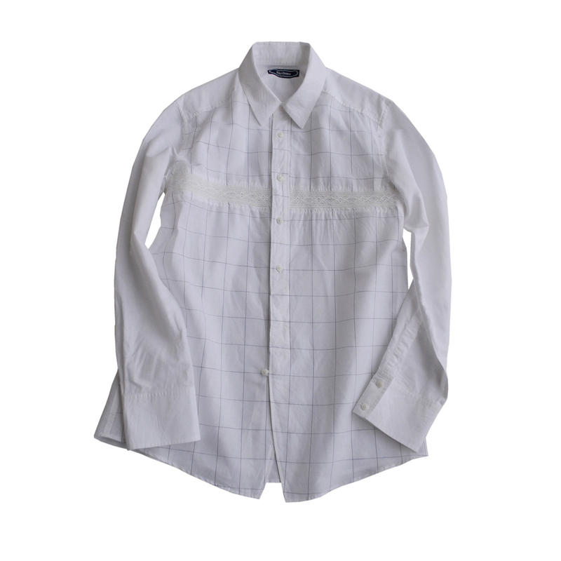 Rhythmor(リズモア)レース切替ホワイトウインドーペンシャツ