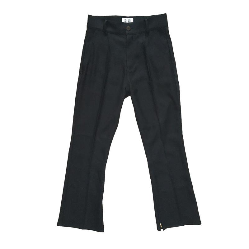 BOOT CUT STA-PREST PANTS (BLACK)