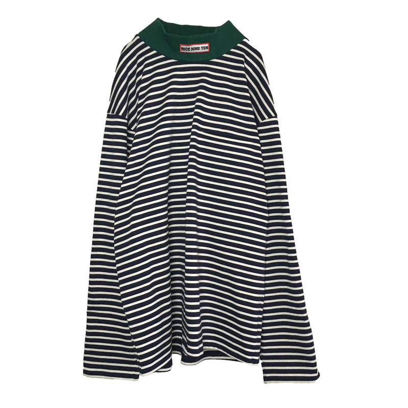 BASQUE BORDER MOCK NECK L/S KNIT  (NAVY)