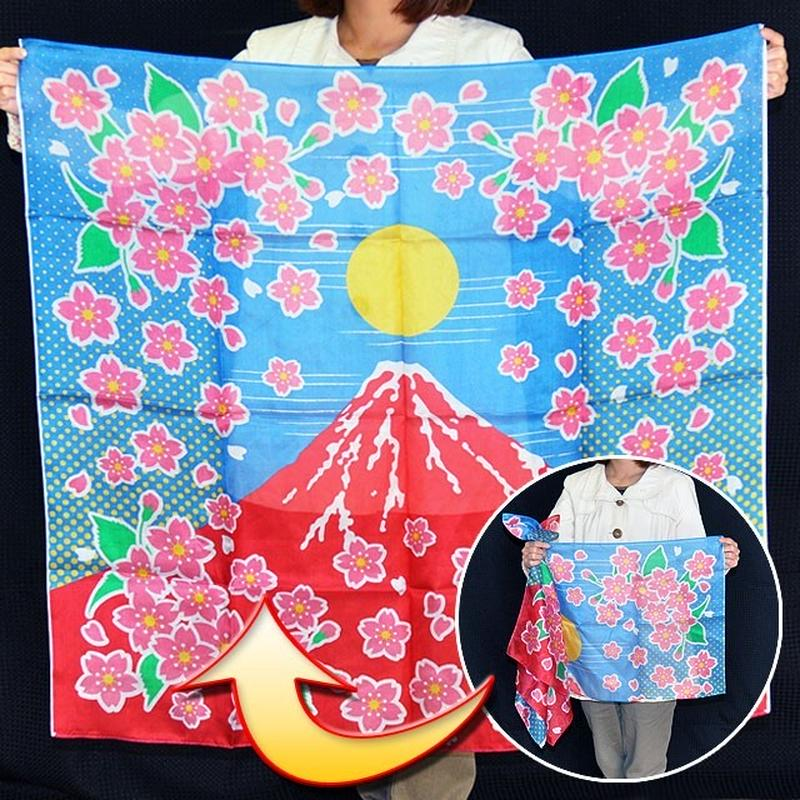 ★手品・マジック★ ブレンドシルク「赤富士桜」(特上品Lサイズ)★S8534