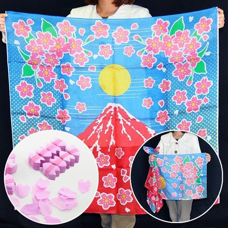 ★手品・マジック★ ブレンドシルク「赤富士桜」桜吹雪付(特上品Lサイズ)★S8535