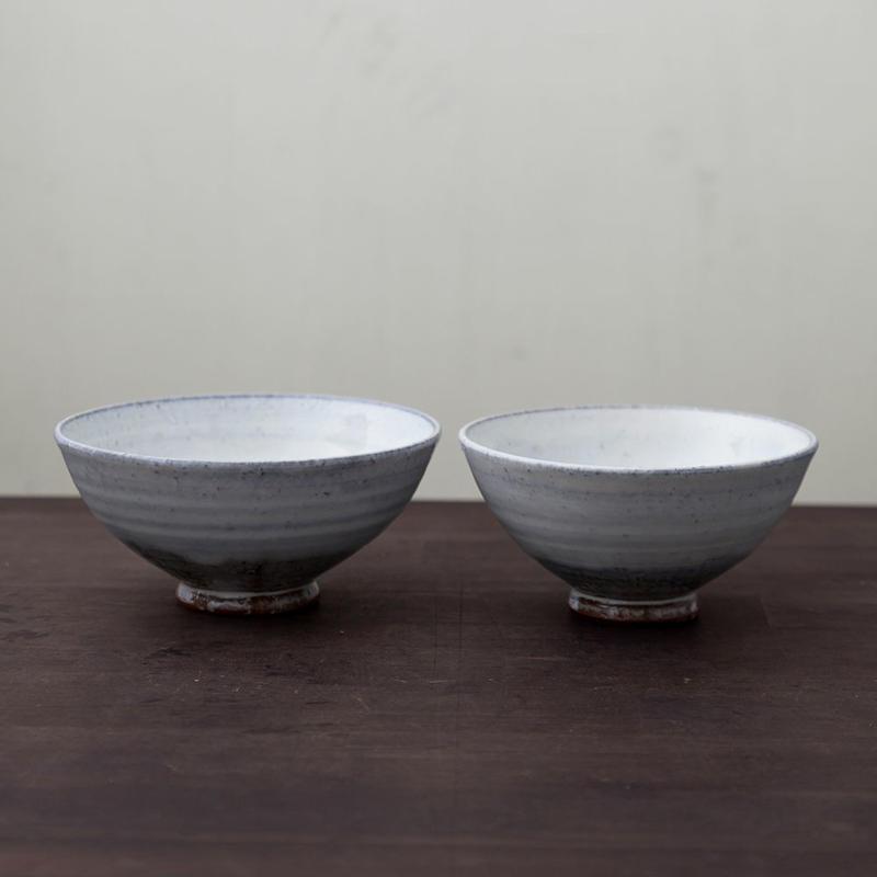 ◆◇陶器 萩焼 輪花◆◇ 白萩飯碗揃(二客組) (木箱入) 白景山