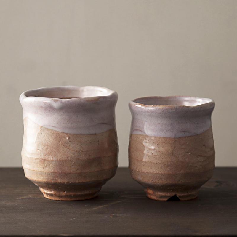◆◇陶器 萩焼 輪花◆◇ 登り窯焼成 組湯呑(木箱入)小久保凌雲 作