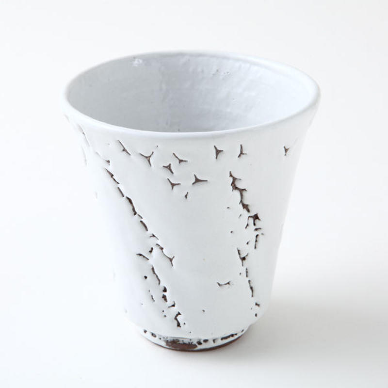 ◆◇陶器 萩焼 輪花◆◇ 焼酎グラス(梅花皮) 白景山 作
