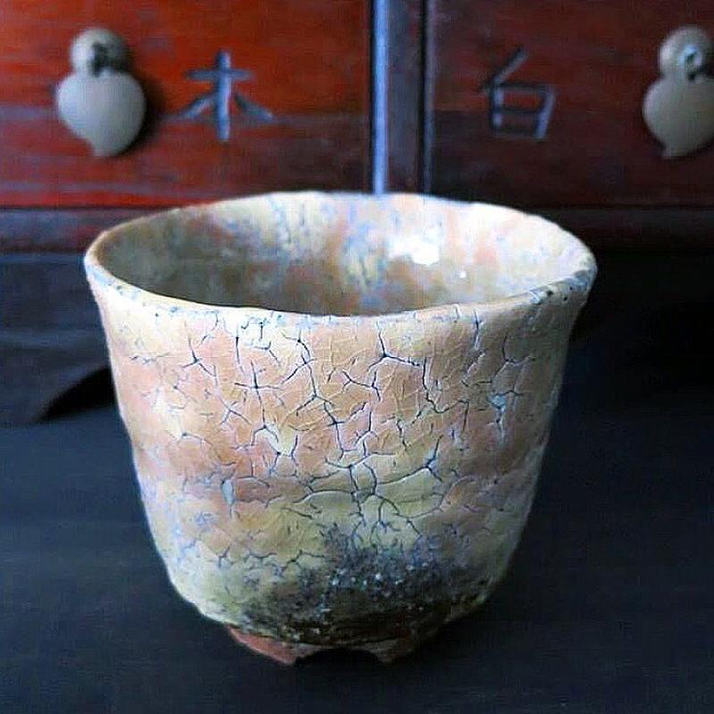 ◆◇陶器 萩焼 輪花◆◇ 鬼萩湯呑茶碗(木箱入)黒田岳 作