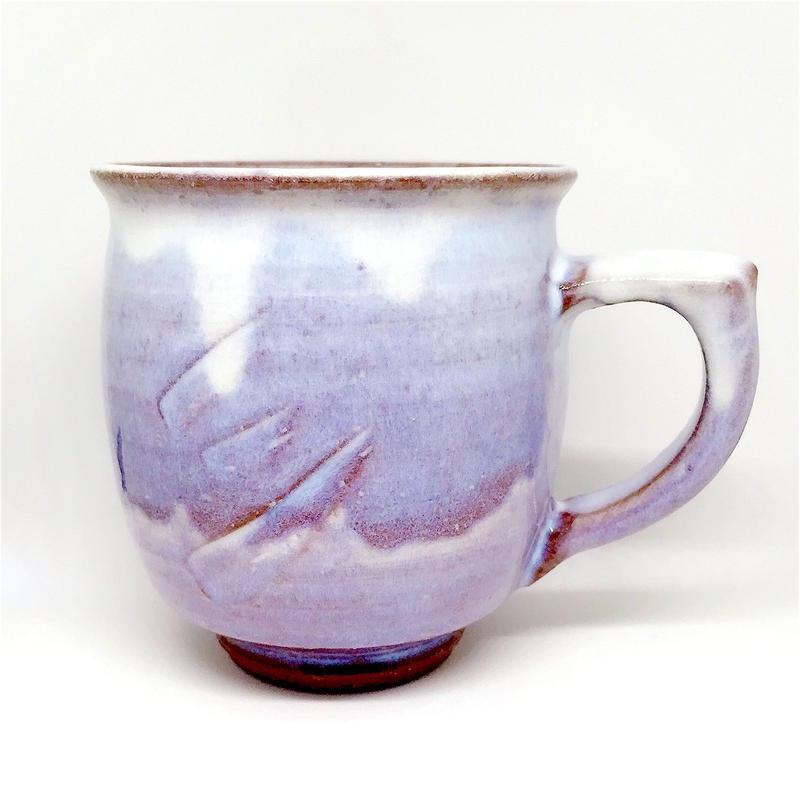 ◆◇陶器 萩焼 輪花◆◇ 紫マグカップ c-11 白景山