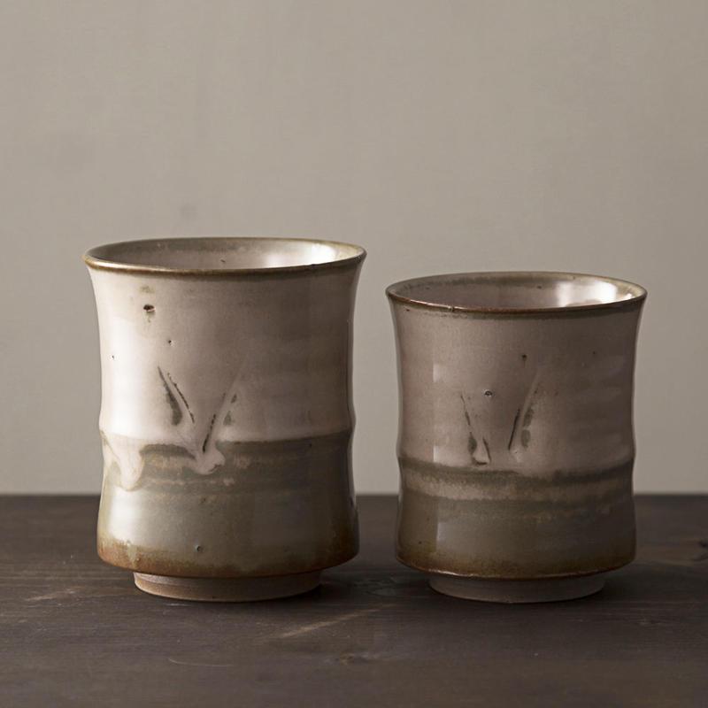 ◆◇陶器 萩焼 輪花◆◇ 組湯呑(木箱入) 丸山陶心 作