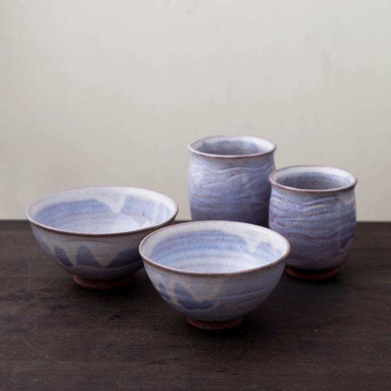 ◆◇陶器 萩焼 輪花◆◇ 湯呑飯碗セット(木箱入) 白景山 作