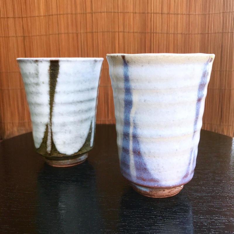◇◆陶器 萩焼 輪花◇◆ 和モダン ビアグラス フリーカップ 和グラス ペアセット 白景山