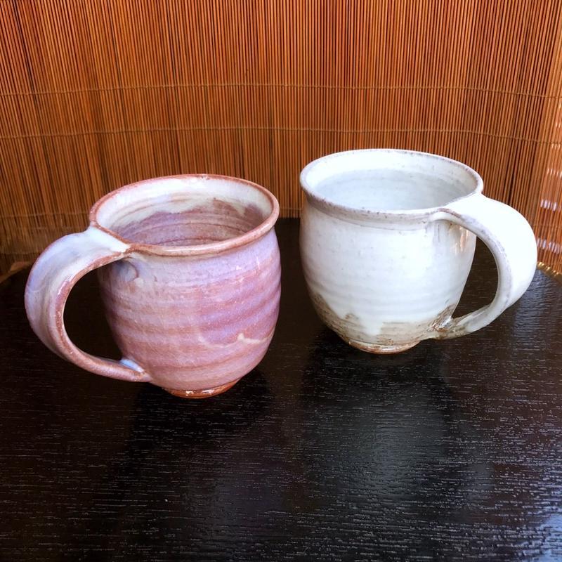 陶器 萩焼 和食器 作家 和モダン カフェ コーヒー  ペアマグカップ  C10 C11新 白景山 木箱入