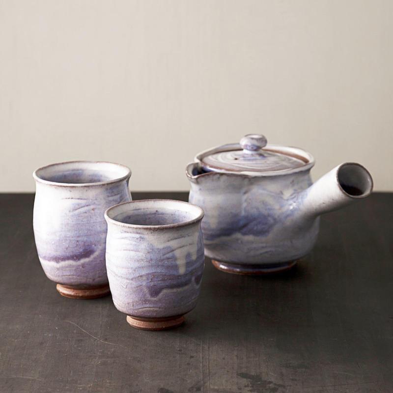 ◆◇陶器 萩焼 輪花◆◇ 番茶器セット(木箱入) 白景山 作