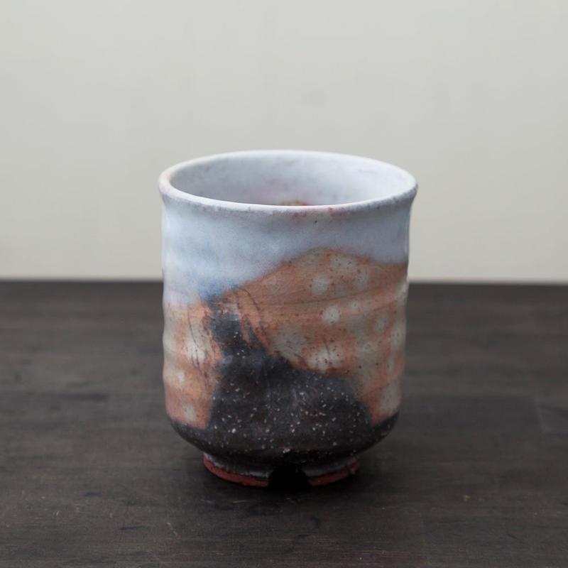 ◆◇陶器 萩焼 輪花◆◇ 湯呑(木箱入) 国輔 作