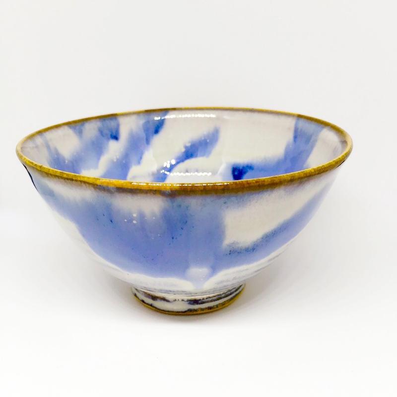 陶器 萩焼 和食器 作家 和モダン カフェ 飯碗 小鉢 マーブル青 ブルー