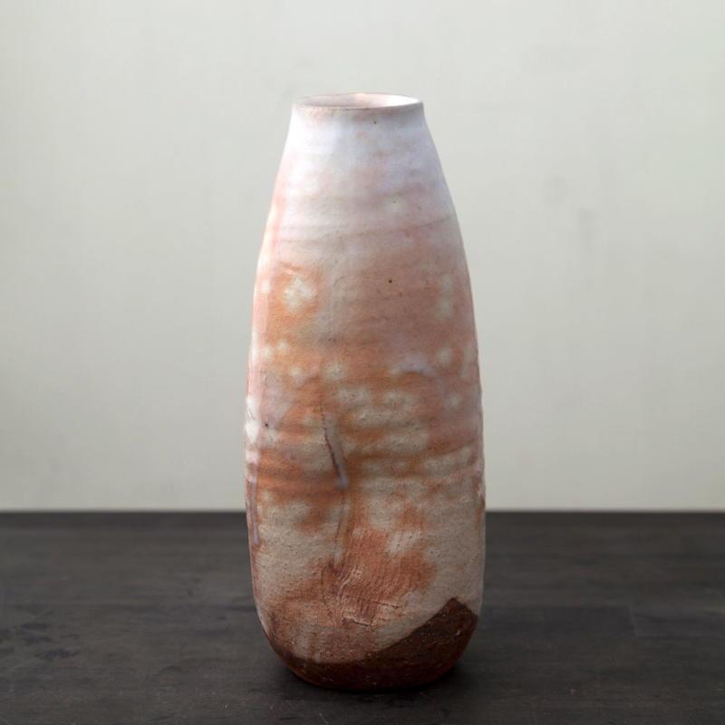 陶器 萩焼 輪花 花瓶(木箱入) 林紅陽 作
