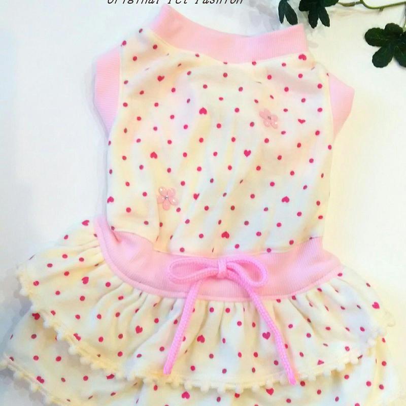 フェミニン♥ピンクハートドット柄カバーオール★小型犬