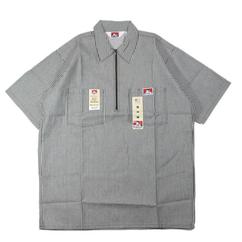 (Green Stripe) Dead Stock 1990s BEN DAIVIS Half Zip S/S Work Shirts