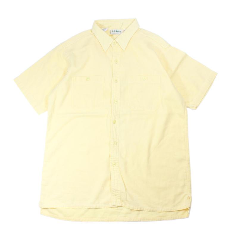 1980s L.L.Bean cool weave s/s striped shirts (lemon)