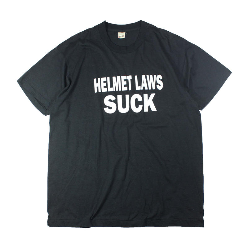 """1980s """"HELMET LAWS SUCK"""" tshirts"""