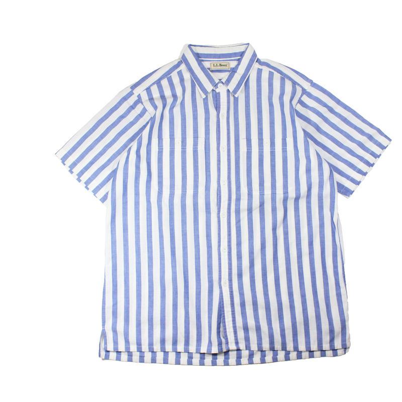 1980s L.L.Bean cool weave s/s striped shirts (blu/wht)