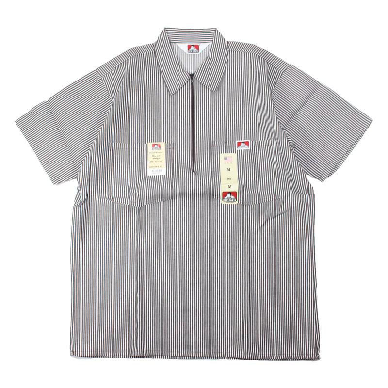 (Brown Stripe) Dead Stock 1990s BEN DAIVIS Half Zip S/S Work Shirts