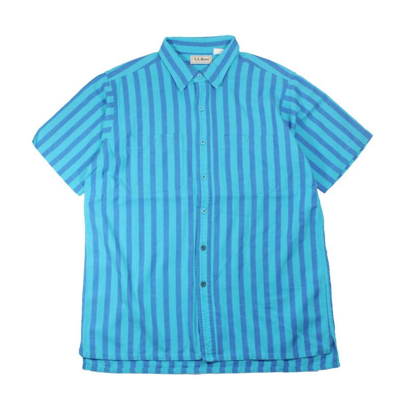 1980s L.L.Bean cool weave s/s striped shirts (blu/sax)