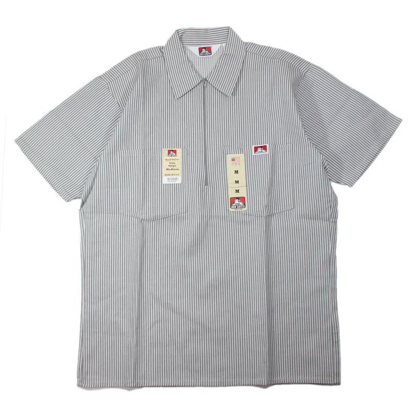 (Grey Stripe) Dead Stock 1990s BEN DAIVIS Half Zip S/S Work Shirts