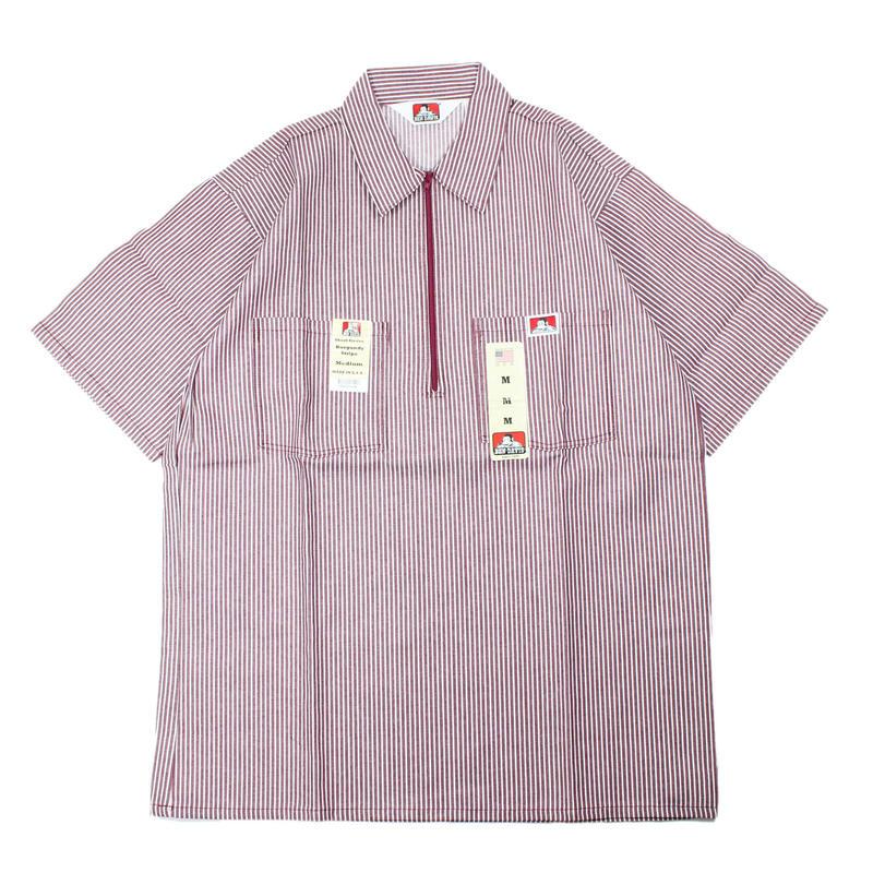 (Burgundy Stripe) Dead Stock 1990s BEN DAIVIS Half Zip S/S Work Shirts