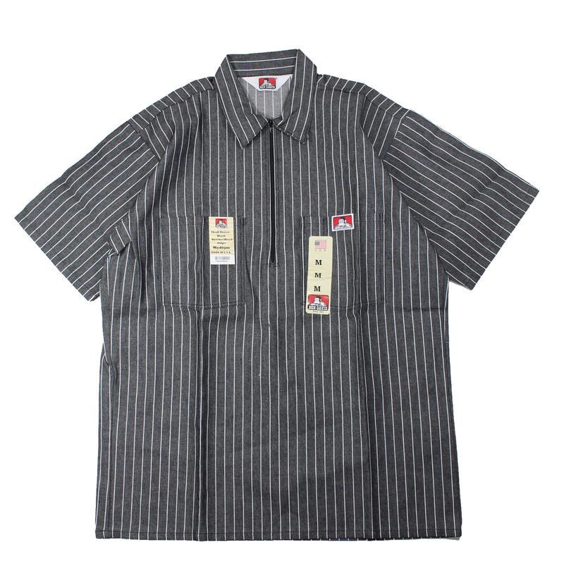 (Black Butcher Block Stripe) Dead Stock 1990s BEN DAIVIS Half Zip S/S Work Shirts