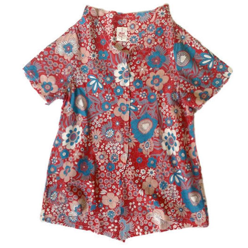燐シャツ 半袖 〈時計草 赤〉