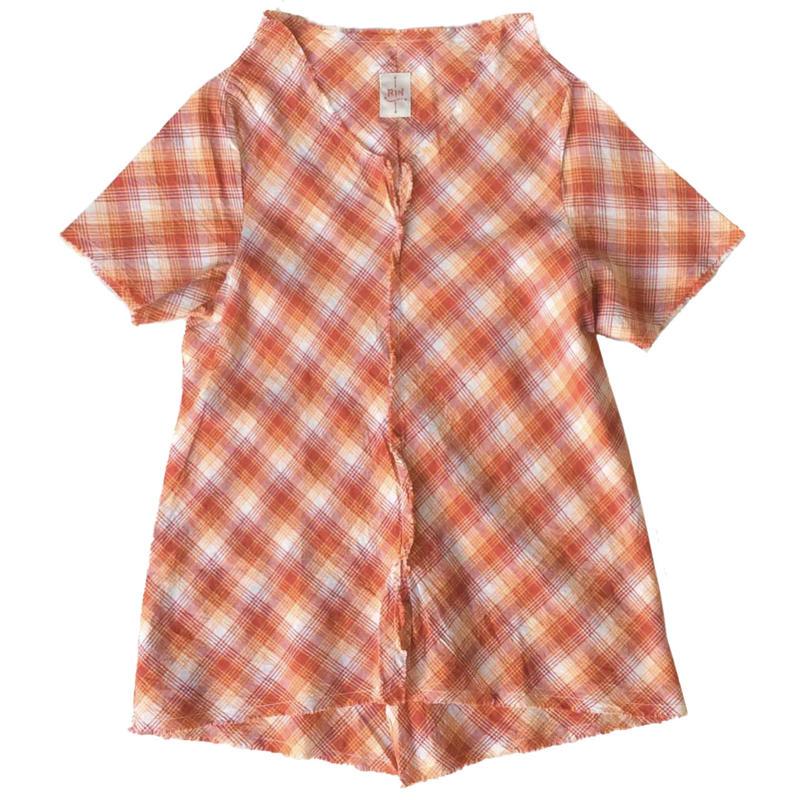 燐シャツ 半袖 〈オレンジチェック〉