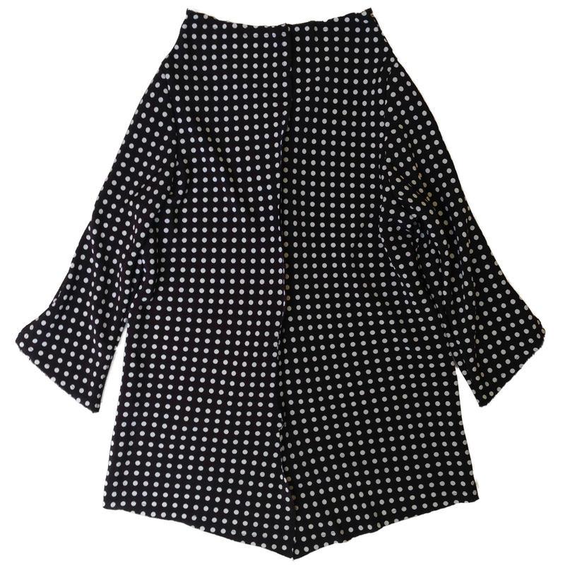 燐シャツ 七分袖 〈ちりめん黒水玉〉