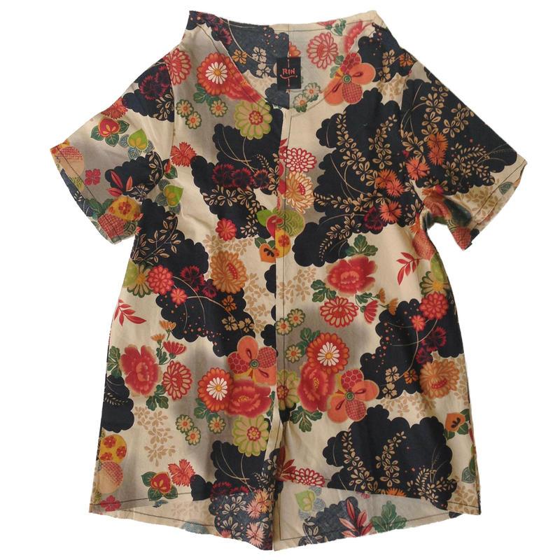 燐シャツ 半袖 〈黒和花〉