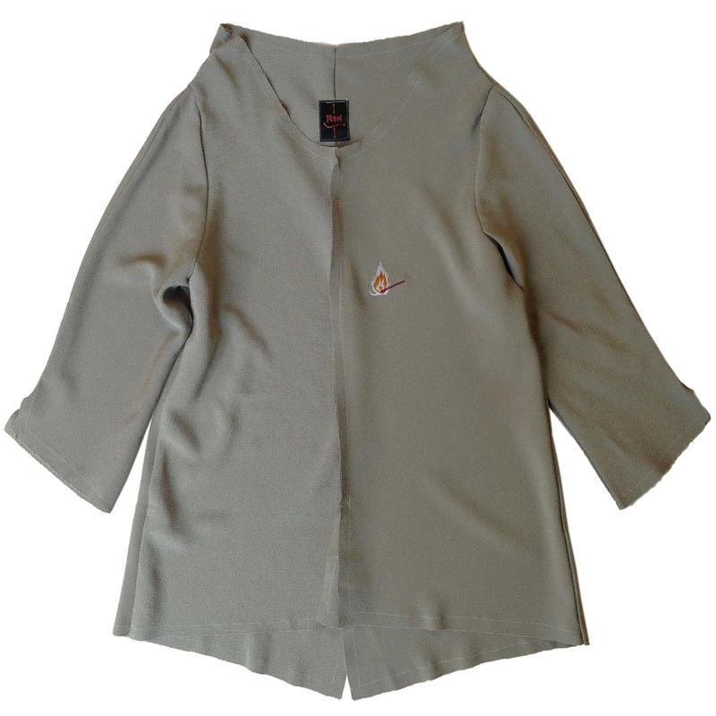 燐シャツ 七分袖 〈ちりめん ぎんねず色〉