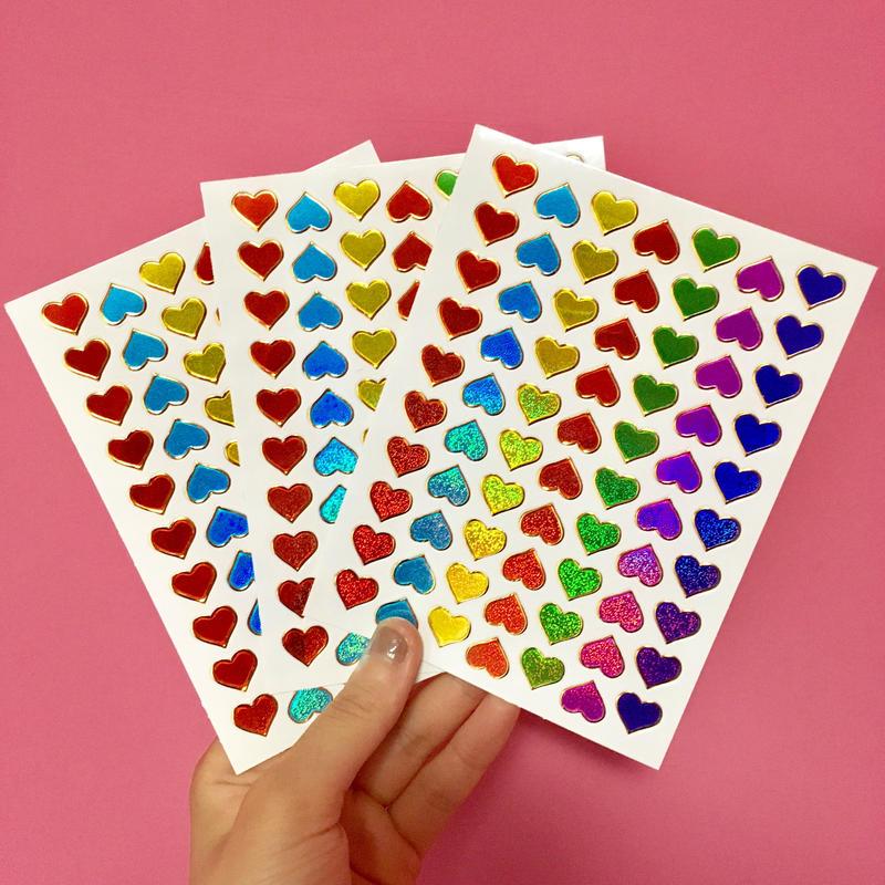 ミニハート カラフル キラキラ シール 3枚セット mini colorful heart sticker