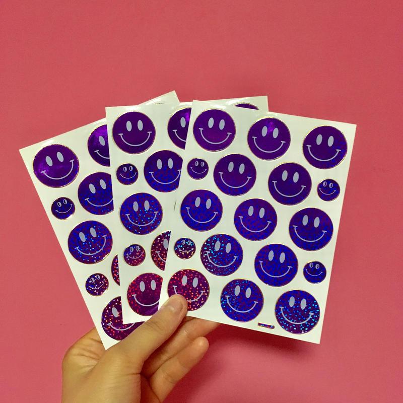 スマイル シール 3枚セット ステッカー 紫 SMILE STICKER PURPLE