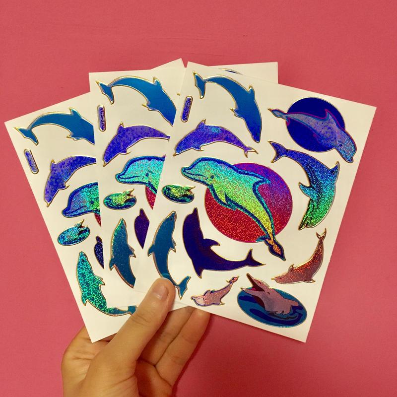 イルカ キラキラ シール 3枚セット ② dolphin stickers