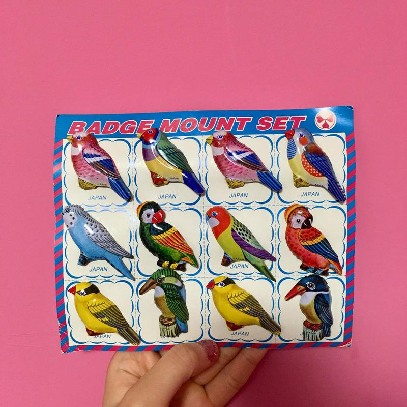 鳥 ブローチ 12個セット バッチ 可愛い レトロ bird badge
