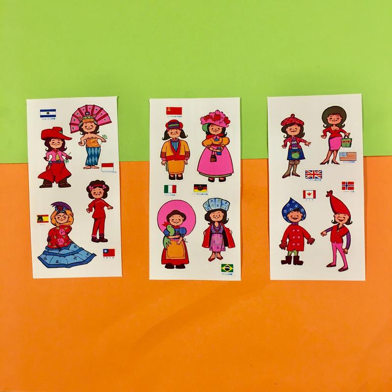 世界の民族衣装 シール 3枚セット ステッカー traditional costume sticker ②
