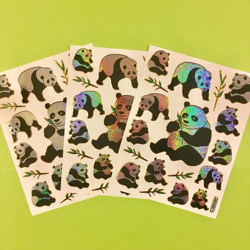 パンダ キラキラ シール 3枚セット sticker panda