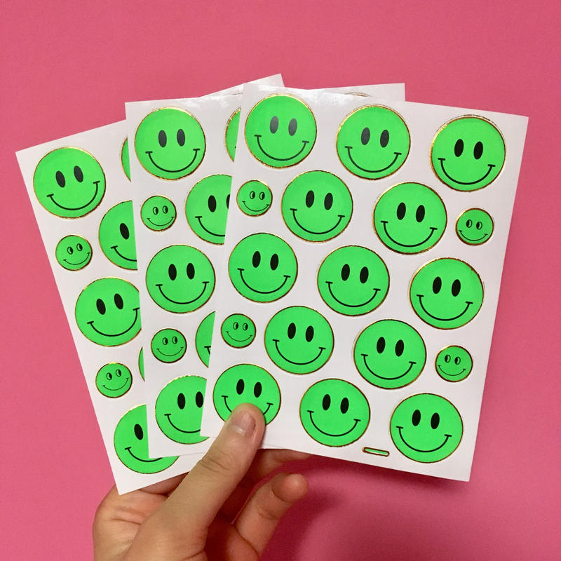 スマイル シール 3枚セット ステッカー 緑  SMILE STICKER GREEN