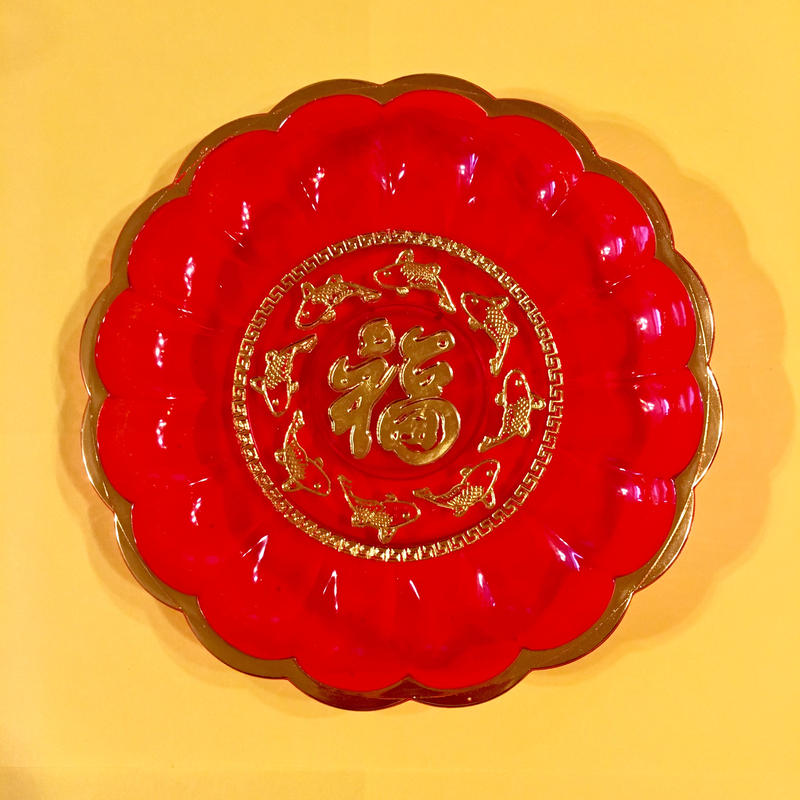 福と鯉 透明 お皿 GOOD FORTUNE CARP PLATE
