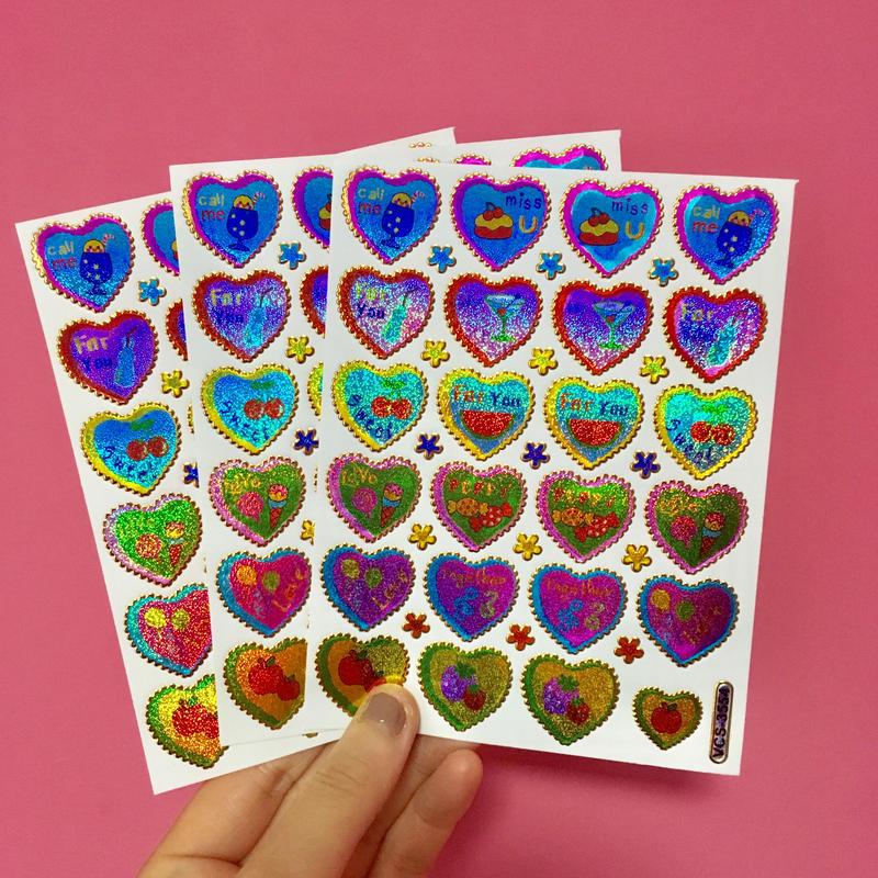 ハート カラフル 英語 キラキラ シール 3枚セット ②  colorful heart english sticker