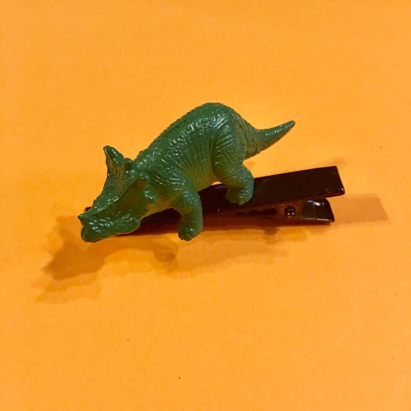 恐竜 ヘアクリップ アクセサリー 緑 Dinosaur Hair clip green