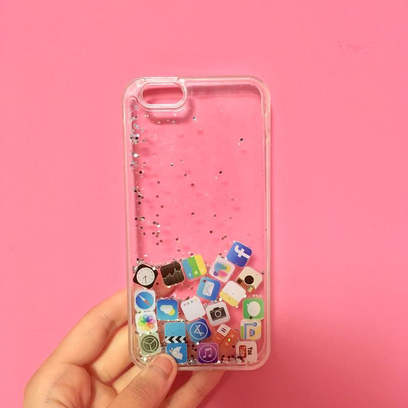 iPhoneケース 6/6s シルバー&緑ラメ アイコン