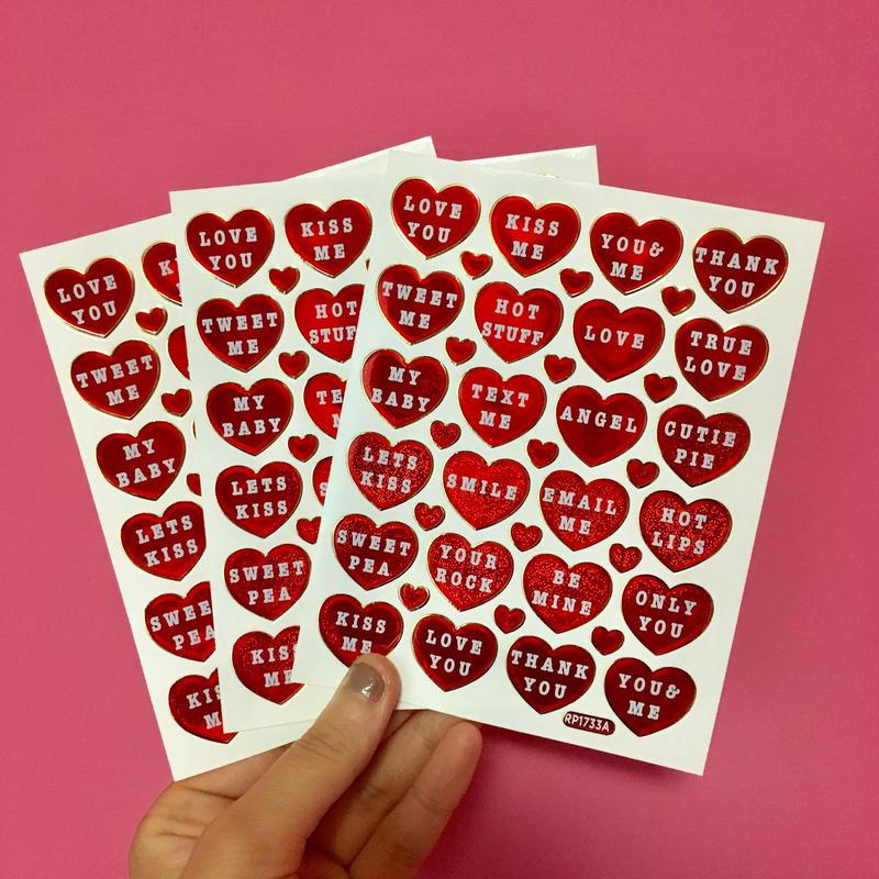 ハート 赤 英語 キラキラ シール 3枚セット red heart english sticker